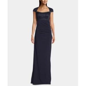 New Betsy & Adam Cap Sleeve Sequin Prom Gown